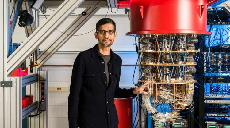 Sundar Pichai, pictured with the Sycamore Quantum processor, compared the feat to building the first rocket to reach space. Photograph: Reuters